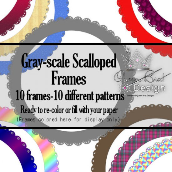 Gray-scale Scalloped Frames