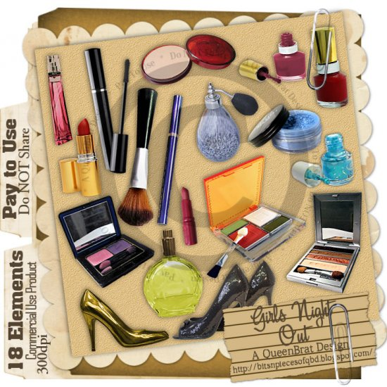 Girls Night Out MakeUp Elements - Scrapper Size