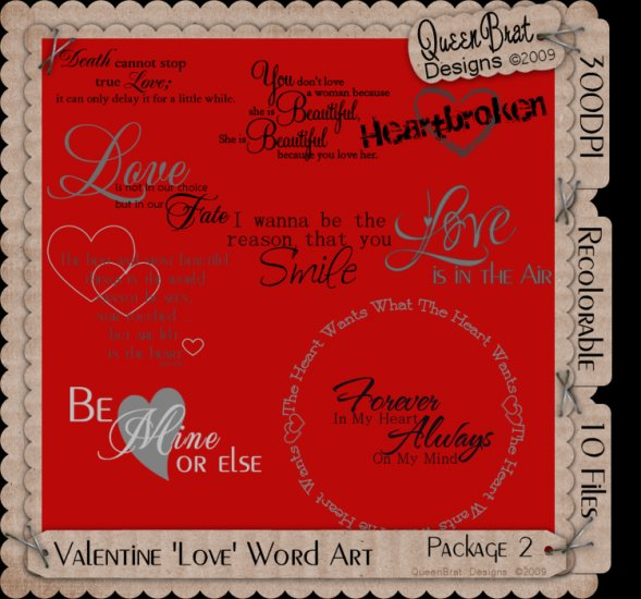 Valentine/Love Word Art Package 2