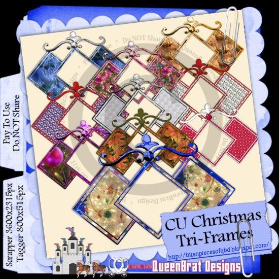 CU Christmas Tri-frames Scrapper Size