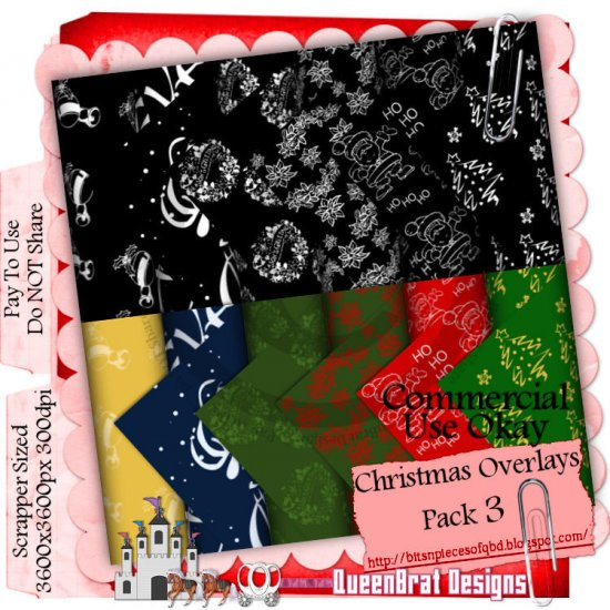 Christmas Overlays 2009 Scrappers Pack 3