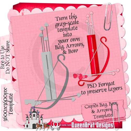 Cupid's Bag, Bow & Arrows Template