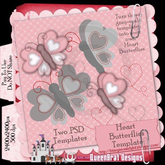 Heart Butterflies Template