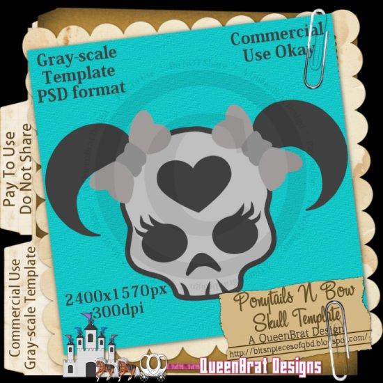 Ponytails N Bow Skull Template