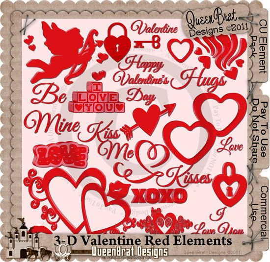 3-D Valentine Red Element Pack