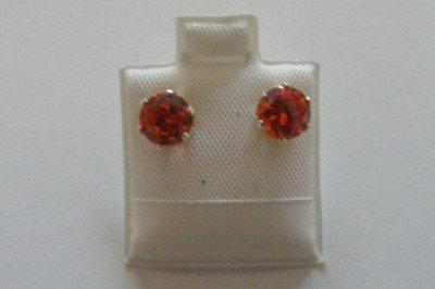 Orange post earrings sterling silver cubic zirconia
