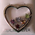 Multi color Genuine Gemstone 2ctw 925 sterling  Heart Shape Pendant