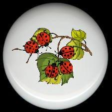 LADYBUGS on LEAVES ~ Ceramic Knobs Pulls