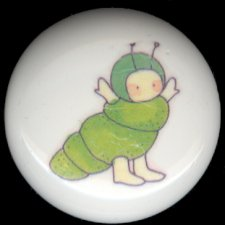 BABY BUGS Ceramic Knobs Pulls ~ CATERPILLAR