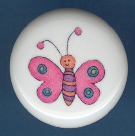 Whimsical PINK BUTTERFLY Ceramic Knob KNOBS