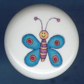 Whimsical BLUE BUTTERFLY Ceramic Knob KNOBS