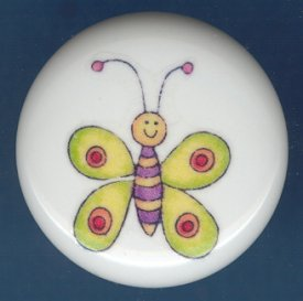 Whimsical YELLOW BUTTERFLY Ceramic Knob KNOBS