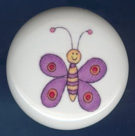 Whimsical PURPLE BUTTERFLY Ceramic Knob KNOBS