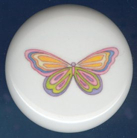 Psychedelic  Butterfly 3 Ceramic Knobs Pulls