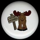 Whimsical MOOSE CROSSING X-ING Cabin Rustic Ceramic Drawer Knobs Pulls FREE S/H