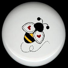 Bumblebee BEE with HEARTS on Wings  Ceramic Drawer Knobs Pulls FREE S/H