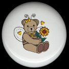ANGEL BEAR with FLOWERS ~ Ceramic Knobs Pulls FREE S/H