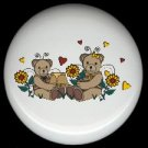 ANGEL BEARS with HONEY ~ Ceramic Knobs Pulls FREE S/H
