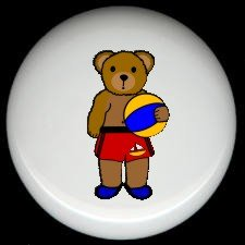 BEACHBALL BEAR #1 ~ Ceramic Knobs Pulls FREE S/H