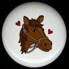 BROWN HORSE with HEARTS Ceramic Knobs Pulls - Free Shipping