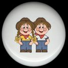 FARM GIRL and BOY KIDS Ceramic Drawer Knobs Pulls FREE S/H
