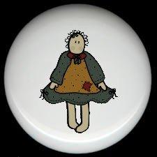 Primitive Raggedy RAG Cloth DOLL #2 Ceramic Drawer Knobs Pulls FREE S/H