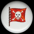 Burnt Orange PIRATE SKULL FLAG * Ceramic Drawer Knobs Pulls FREE S/H
