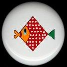 Geometic RED Polka Dot FISH Ceramic Drawer Knob KNOBS