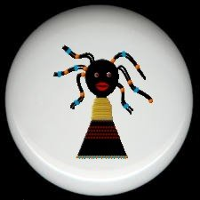 AFRICAN BEAD DOLL #2 ~ Ceramic Drawer Knobs Pulls