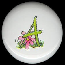SPRING Alphabet LETTER A ~ Ceramic Drawer Knobs Pulls