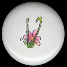 SPRING Alphabet LETTER V ~ Ceramic Drawer Knobs Pulls