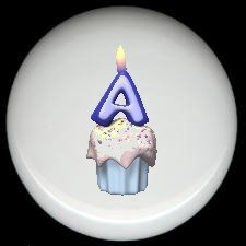 CUPCAKE CANDLE Alphabet LETTER A ~ Ceramic Drawer Knobs Pulls