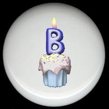 CUPCAKE CANDLE Alphabet LETTER B ~ Ceramic Drawer Knobs Pulls
