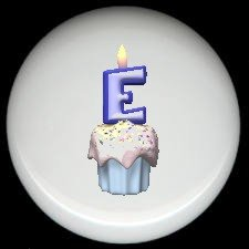 CUPCAKE CANDLE Alphabet LETTER E ~ Ceramic Drawer Knobs Pulls