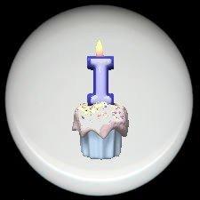 CUPCAKE CANDLE Alphabet LETTER I ~ Ceramic Drawer Knobs Pulls