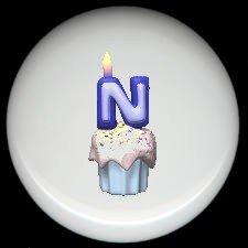 CUPCAKE CANDLE Alphabet LETTER N ~ Ceramic Drawer Knobs Pulls
