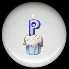 CUPCAKE CANDLE Alphabet LETTER P ~ Ceramic Drawer Knobs Pulls