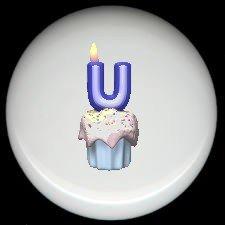 CUPCAKE CANDLE Alphabet LETTER U ~ Ceramic Drawer Knobs Pulls