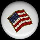 Sewing Quilting AMERICAN FLAG ~ Ceramic Drawer Knobs Pulls FREE S/H