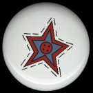 Prim Star with Button SEWING ~ Ceramic Drawer Knobs Pulls FREE S/H