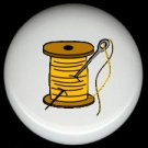YELLOW Thread on Wood Spool with Needle SEWING ~ Ceramic Drawer Knobs Pulls FREE S/H