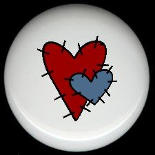 RED & BLUE STITCHED Prim HEARTS ~ Ceramic Drawer Knobs Pulls FREE S/H
