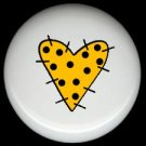 YELLOW and BLACK Polka Dots Prim HEART ~ Ceramic Drawer Knobs Pulls FREE S/H