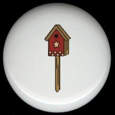 RED BIRDHOUSE on a STAKE Ceramic Knobs Pulls