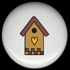 Tan BIRDHOUSE with HEART Ceramic Knobs Pulls