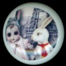 WHITE RABBIT with SCARY DOLL GIRL Gothic Ceramic Drawer Knobs