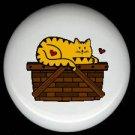 CAT on a BASKET - CERAMIC KNOBS PULLS