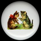Victorian KITTENS CAT at PLAY Design 3 Ceramic Knobs Pulls