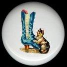 Blue Satin VICTORIAN BOOT Shoe & Kitten CAT Ceramic Knobs Pulls