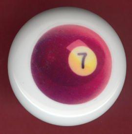 POOL BALL #7 Billiards Ceramic Drawer Knob Pulls